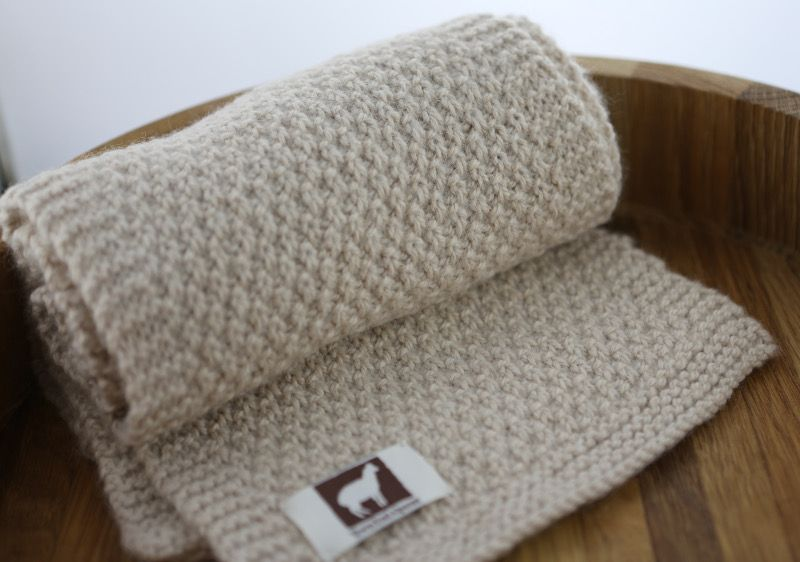 Aran Alpaca Moss Stitch Scarf Knitting Pattern Town End Yarns