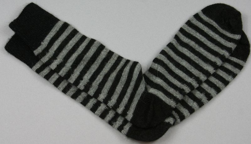 Alpaca Stripy Socks Black Grey