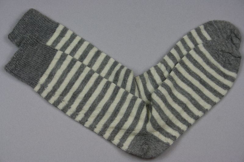 Alpaca Stripy Socks Grey White