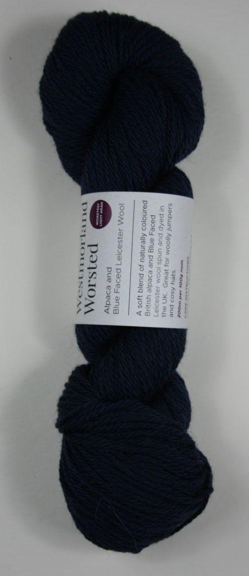 Alpaca wool worsted yarn navy